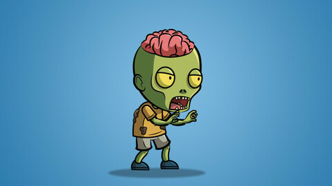 Exposed Brain Zombie 2D Character Sprite