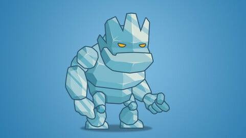 Tiny Ice Monster 2D Character Sprite