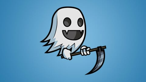 Cute Ghost 2D Character Sprite