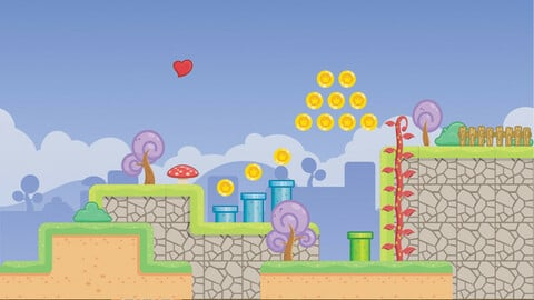 Fantasy Village 2D Side scroller Game Tileset