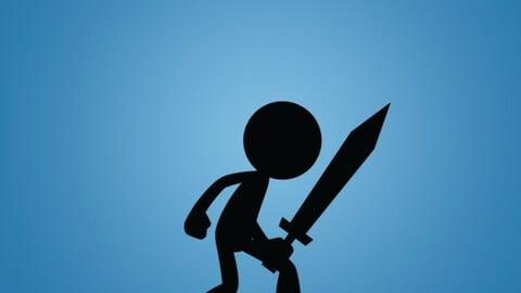 Free Stick Swordman 2D Character Sprite