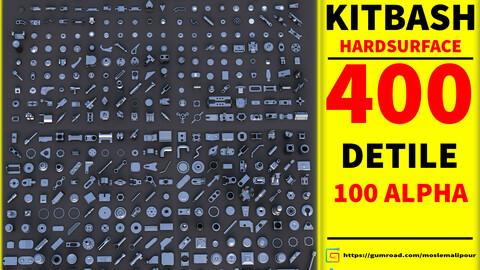 Mega Pack  kitbash 400 DETILS hardsurface+100 ALPHA