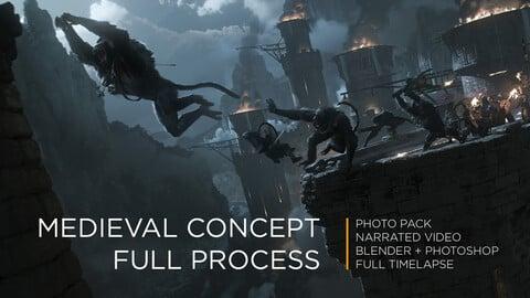 Concept Art Full Process | Medieval  Scene