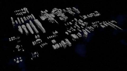 Sci-Fi Space Ship Hard Surface Kit (OBJ / blend)