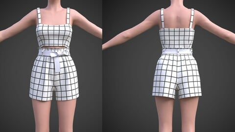 checkered two piece outfit- Plaid Cami Top And Belted Shorts 3D Model