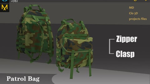 Bag_Backpack_Military accessory_Marvelous Designer, Clo3d clothes_OBJ&FBX(if needed)_Zbrush Practice