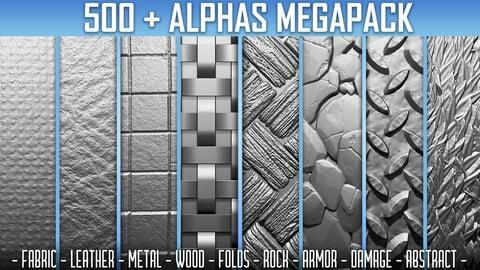 500+ Alphas Megapack (ZBrush, Substance, 2K, PSD)