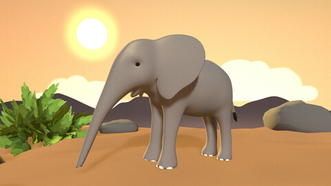Elephant Calf - Stylized