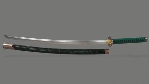 PBR Katana Japanese Sword Green