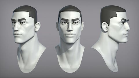Cartoon male character Winston base mesh