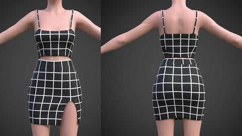 checkered two piece outfit- Plaid Cami Top And Mini Skirt 3D Model