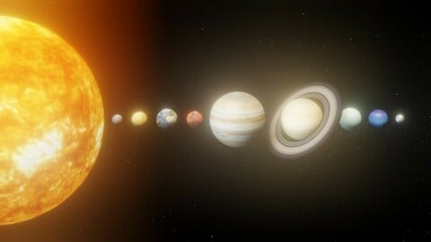 Photorealistic Solar System Pluto Included 8k Textures 3D Model