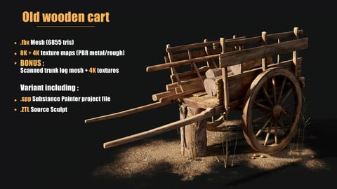 Old Wooden Cart - Game ready asset
