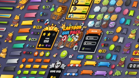 Cartoon GUI Pack Game UI Assets