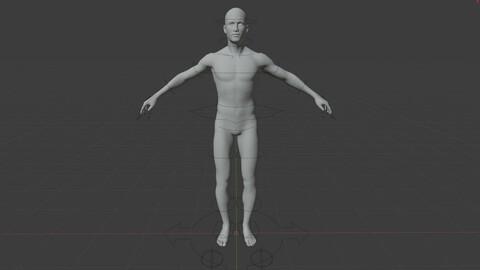 Male Base Mesh Rigged 7.4k faces (OBJ DAE FBX X3D BLEND)