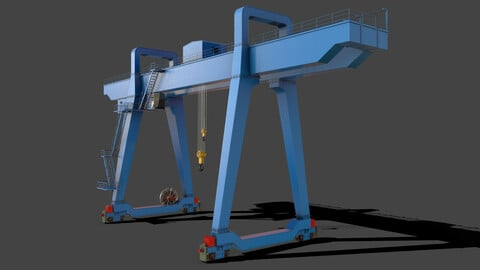PBR Double Girder Gantry Crane V1 - Blue Light