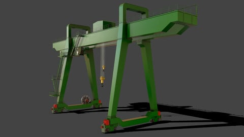 PBR Double Girder Gantry Crane V1 - Green