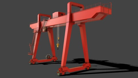 PBR Double Girder Gantry Crane V1 - Red