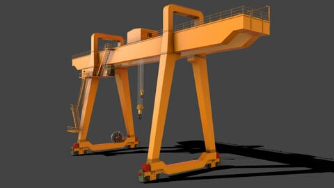 PBR Double Girder Gantry Crane V1 - Yellow Dark
