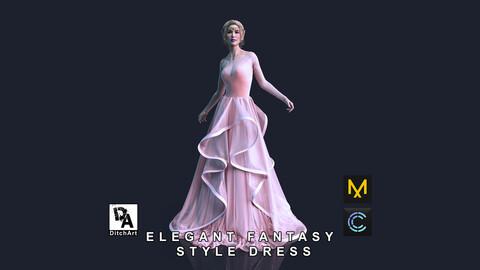Elegant Fantasy Style Dress - Marvelous Designer / Clo