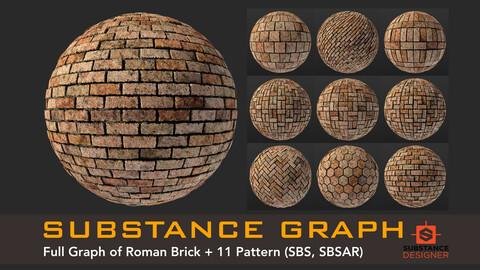 Roman Brick - Substance Graph + 11 Pattern (.SBS .SBSAR)