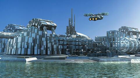 Futuristic City Pack 6. Marina Skyline