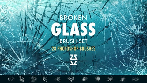 Broken glass Photoshop brush set