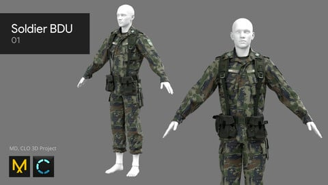 Soldier BDU 01 - Marvelous Designer, CLO 3D