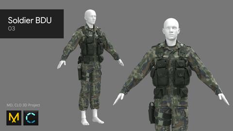 Soldier BDU 03 - Marvelous Designer, CLO 3D