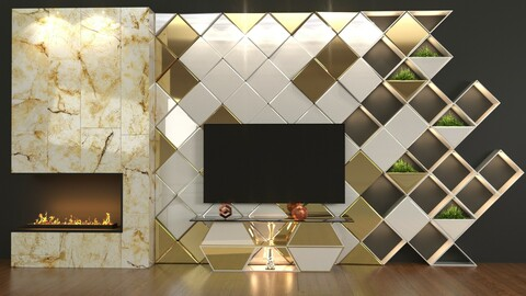 White Golden Cube TV Set