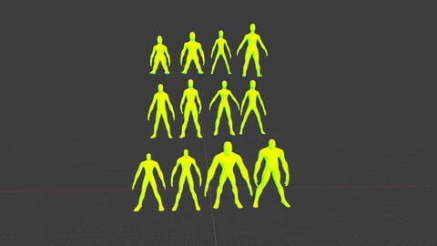 Alien Fantasy Humanoid Character Base Meshes Low-Medium Poly