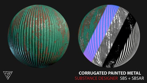 Corrugated Painted Metal - Substance Designer