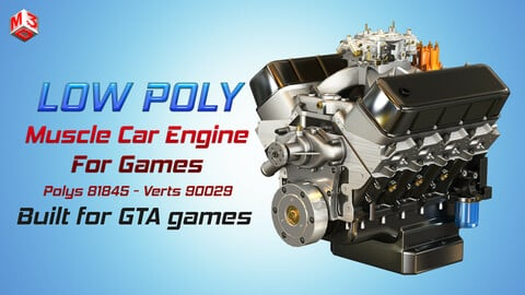 CNC-Motorsports Engine - V8 Muscle Cars Engine Low-poly