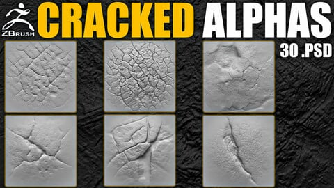 30 Cracked Alphas Vol.1 (ZBrush, Substance, 2K)