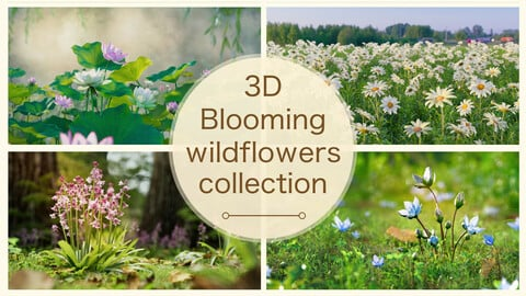 3d Blooming wildflowers collection Vol01