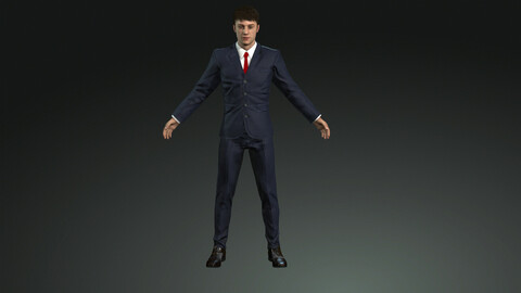 Businessman rigged with face rig