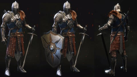 3D Medieval Knight with Armor and Fur