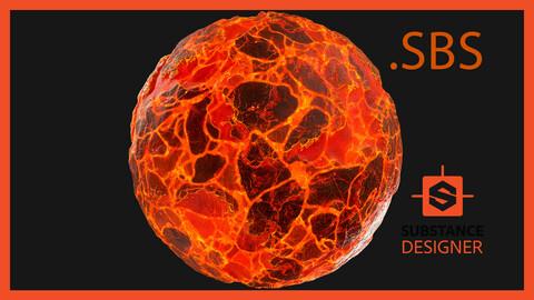 Lava Magma Glowing Emissive Rock Ground Crag Terrain Landscape Cliff Material PBR Texture