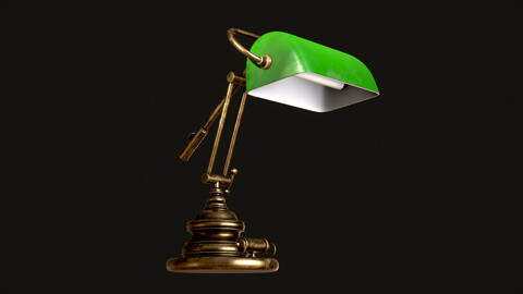 Classic Green Table Banker Lamp  (low-poly, game-ready) 3d model