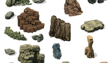 2.5D Rock And Mountain Collection PSD Game Assets 3D Renders