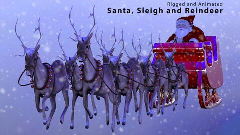 Santa, Sleigh and Reindeer