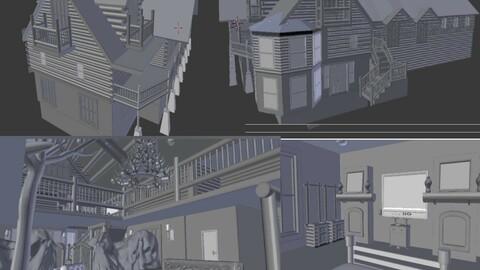 Big Wooden house Villa 3D Model