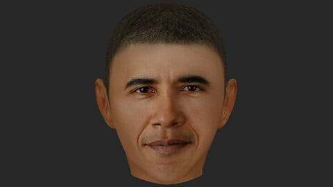3D Obama lowpoly face for game.
