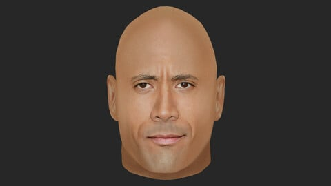 Dwayne Johnson - Lowpoly head for game