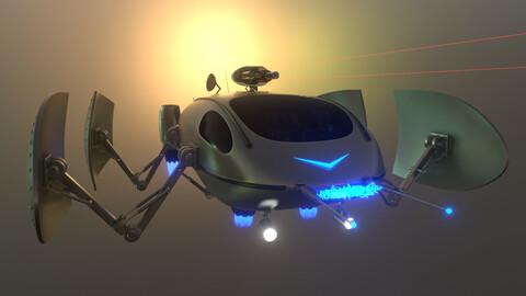 Spaceship Rigged Animated Sci-Fi Space Ship Vehicle Cinematics