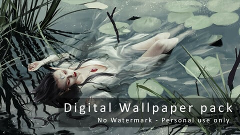 Elf lying in river - Digital Wallpapers