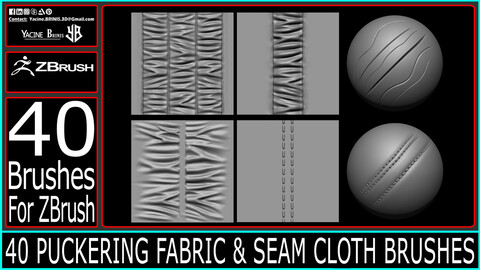 40 Puckering Fabric and Seam Cloth Brushes