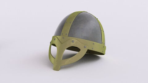 Viking age steel & brass helmet 3d model