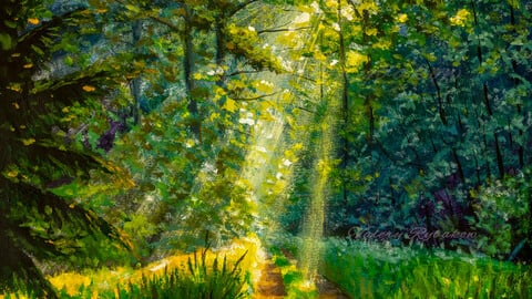 Acrylic painting green forest sunlight, sunny footpath