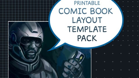 Comic Book Templates - Single and Double Page (Printable) - Plain, Cross/Dot/Square-Grid Patterns (Letter Size)